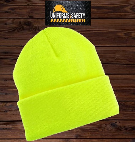 Hi-Vis Safety Neon Yellow, Royal Blue Gray Knit Beanie Cap Knit Hat
