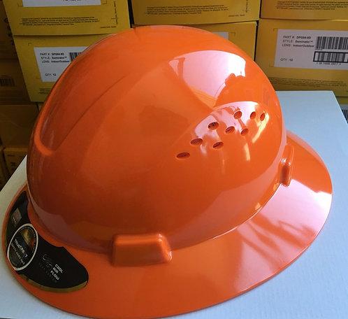 TrueCrest HDPE (Orange) Full Brim Hard Hat with Fas-trac Suspension