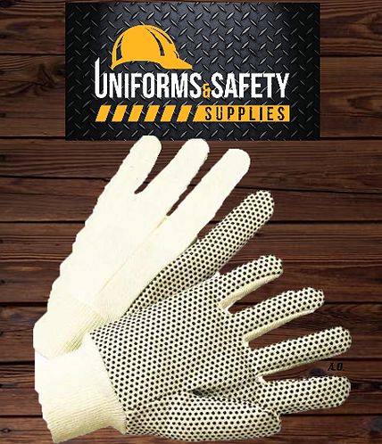 Cotton Polyester Dotted Work Gloves, String Knit, PVC dots on two sides (12 pcs)