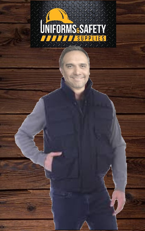 Oscar Sports Vest Jacket Multi Pockets Heavy Fleece Black Quilted