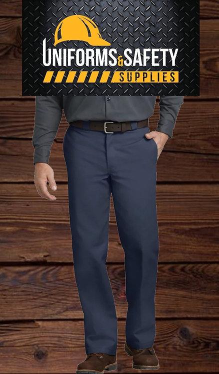 Slim Fit Straight Leg Work Pants, Navy Blue