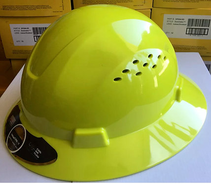 TrueCrest HDPE (Lime/safetygreen) Full Brim Hard Hat with Fas-trac Suspension