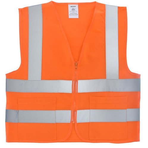 Neiko #53000A (Neon Orange) High Visibility Safety Vest with 2 Pockets