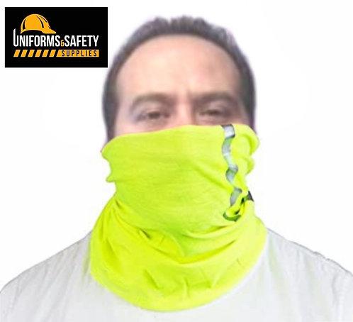 High Visibility Reflective Safety Face Clothing - Neck Gaiter, Bandana Dust Mask