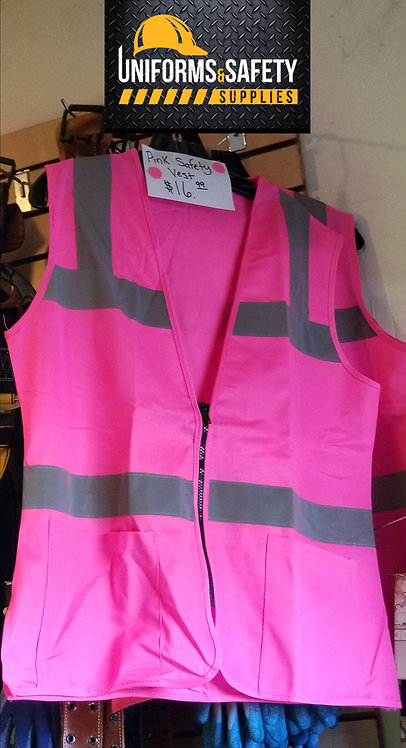 Women's Safety Vest with Zipper - Pink