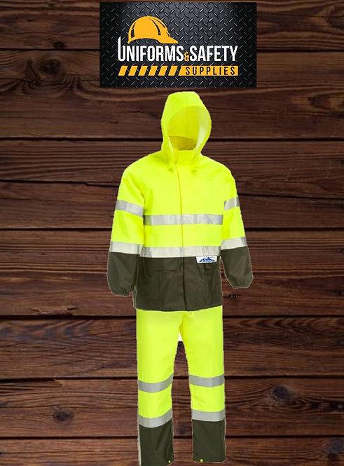 Safety Rain Suit, ANSI Class 3 Hi-Vis Lime Yellow Rainsuit (by piece)