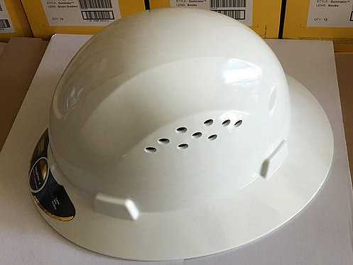 TrueCrest HDPE (White) Full Brim Hard Hat with Fas-trac Suspe