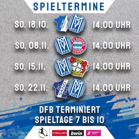 Der DFB hat die Spieltage 7 bis 10 der SVM-Frauen terminiert