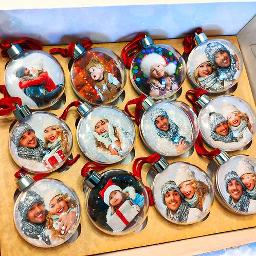 Новогодние шары с фото 12 шт.