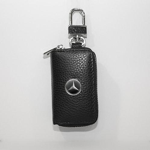 Ключница из натуральной кожи флотер с логотипом Mercedes