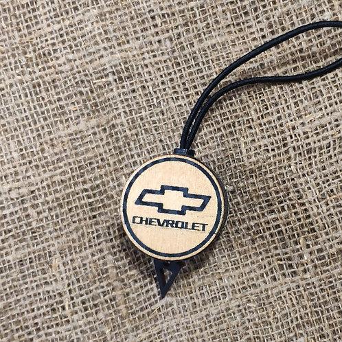 Арома диск с логотипом Chevrolet со вставкой из дерева