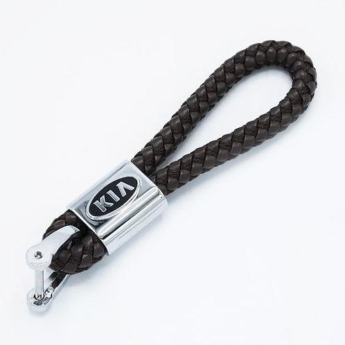 Брелок кожаный плетеный ремешок с логотипом KIA