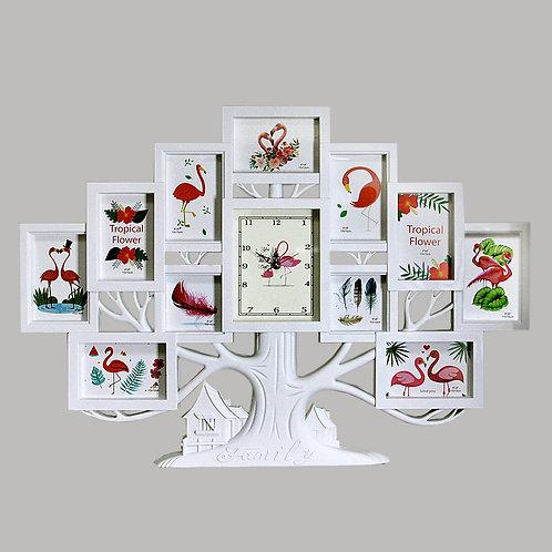 Фоторамка с часами - семейное дерево