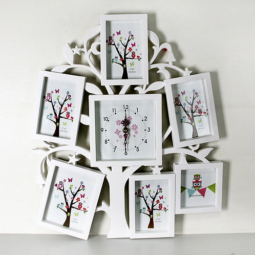 Мультирамка Семейное дерево с часами