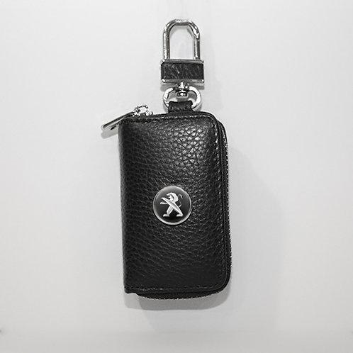 Ключница из натуральной кожи флотер с логотипом Peugeot