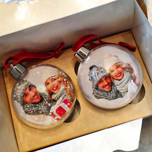 Новогодние шарики с фотографией внутри