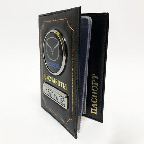Обложка для автодокументов и паспорта «2 в 1» из натуральной матовой кожи