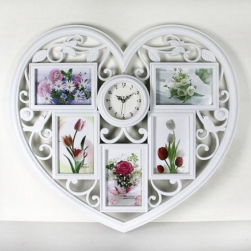 Мультирамка коллаж сердце с фотографиями с часами
