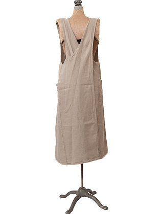 French Linen Cross Back Apron | Natural
