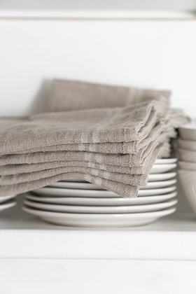 French Country Linen Towel | Linen & Off White