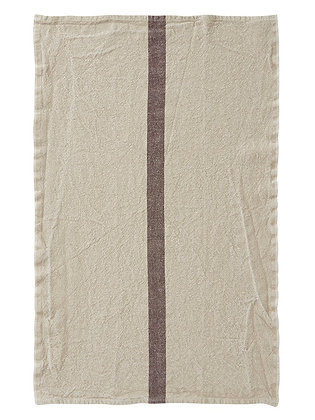 French Linen Towel | Linen & Brown Stripe