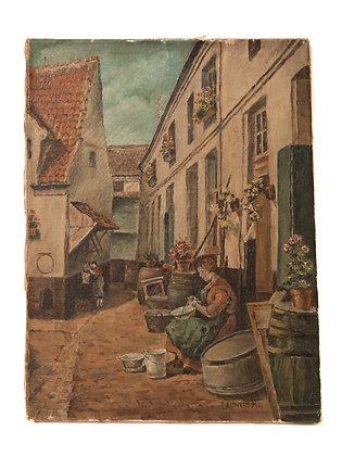 Antique Rustic European Painting