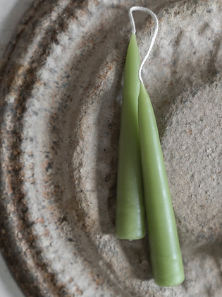 Tapered Wax Candles   Green - More Sizes