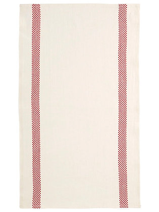 French Linen Towel | Red Check Stripe