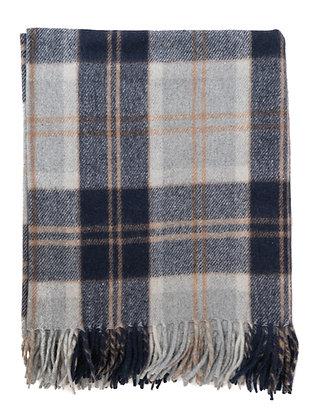 Scottish Wool Blanket in Bannockbane Silver Tartan