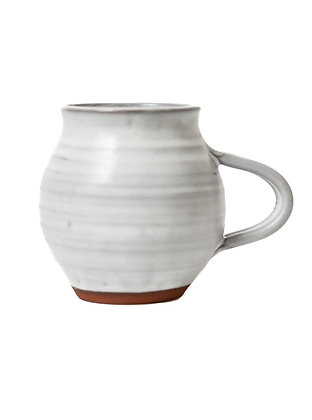 Handcrafted Glazed Pottery Mug | White