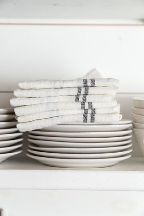 French Country Linen Towel | Blanc & Noir