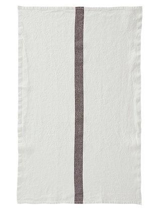 French Linen Towel | White & Brown Stripe