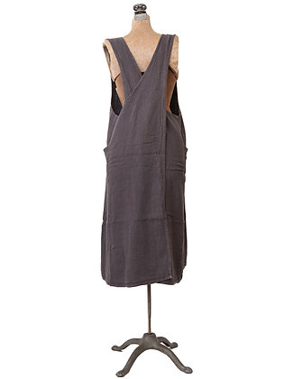 French Linen Cross Back Apron | Grey
