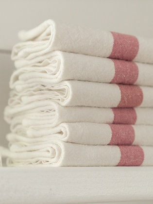 French Linen Towel | White & Rose