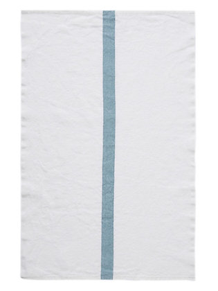 French Linen Towel   White & Aqua