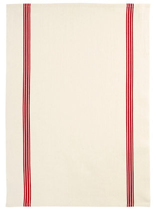 French Linen Towel | Red Piano Stripe
