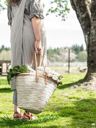 Leather Trimmed French Market Basket