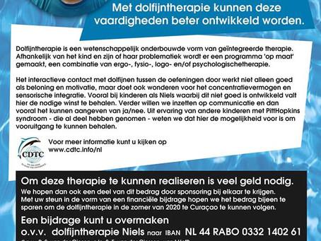 Mooie donatie voor Dolfijn therapie Niels