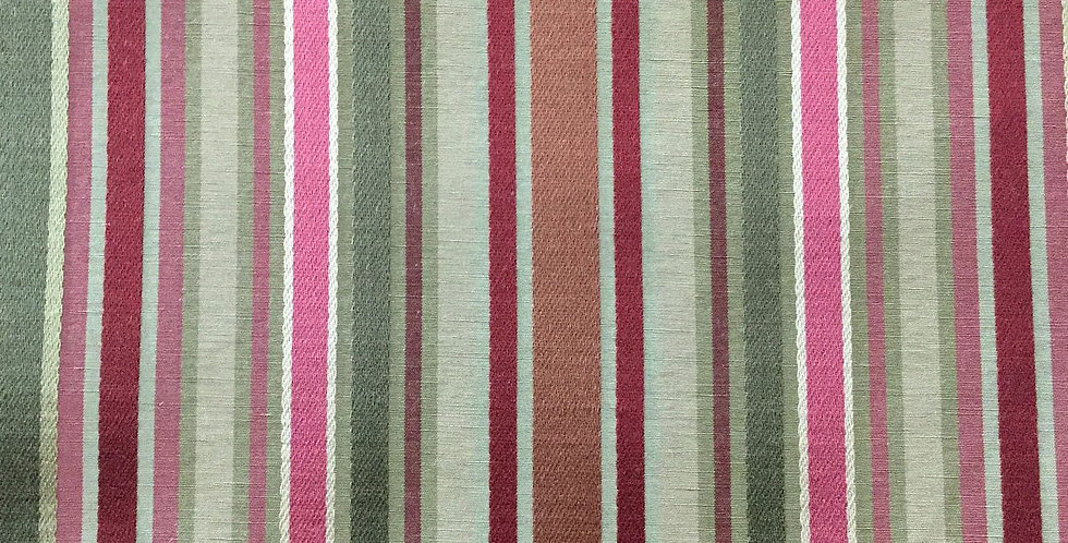 Pink - Green - Red - Salmon Stripe Silk