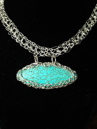 Wire Crochet Oval Turquoise Necklace