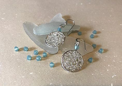 Teal Wire Crochet Earrings