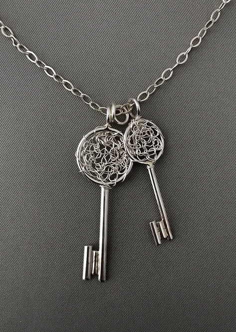 Crochet Silver Wire Key Pendant Necklace