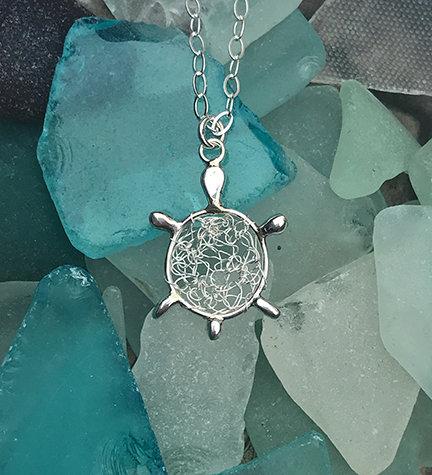 Silver Crochet Turtle Pendant Necklace