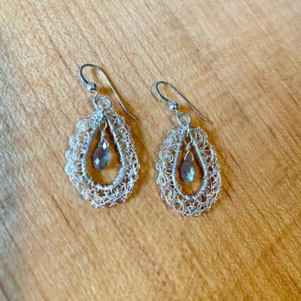 Crochet Silver Labradorite Earrings