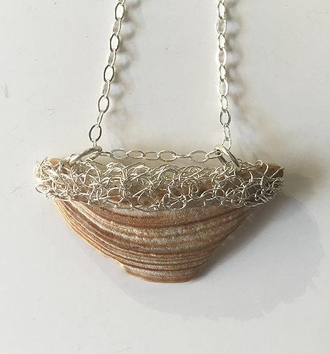 Crochet triangular shell pendant necklace