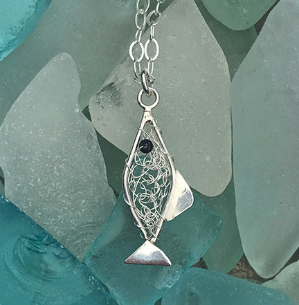 Crochet Silver Fish Pendant Necklace