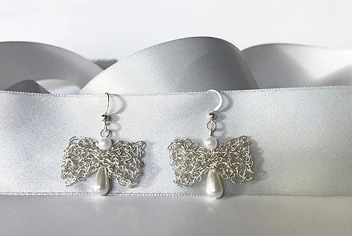 Wire Crochet Angel Earrings