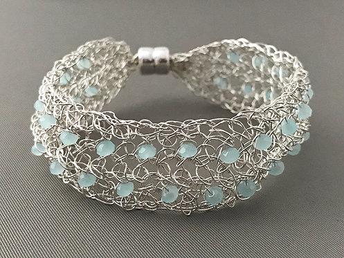 Wire Crochet Aqua Quartz Cuff Bracelet