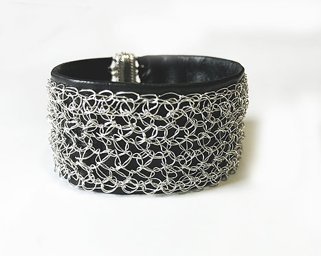Leather Wire Crochet Cuff Bracelet