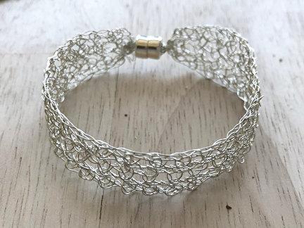 Crochet silver cuff bracelet